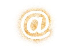 Golden internet symbol made of glitter