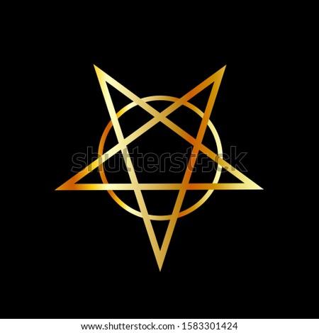 Golden inverted upside down Pentagram antichrist symbol
