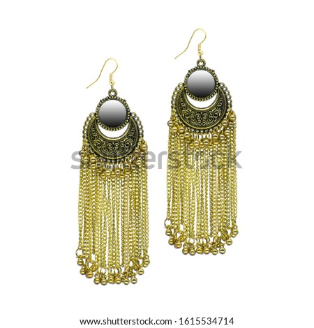 Golden Isolated Earring Ethnic Indian Style. Bohemian Jewellery. Stylish Golden Oxidized Earrings. Multicolor Beads Earrings. Jhumka, Jhumki Earrings. Dangle Drop Stud Earring