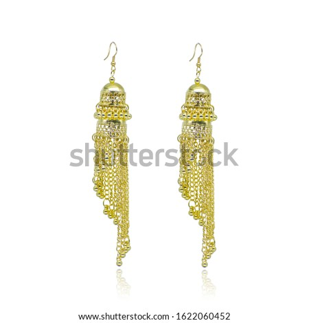 Golden Isolated Earring Ethnic Indian Style. Bohemian Jewellery. Stylish Golden Oxidized Earrings. Multicolor Beads Earrings. eardrop Earrings. Dangle Drop Stud Earring