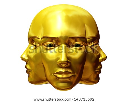 golden Janus head present of the beginning and of the end