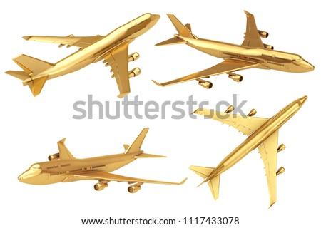 Golden Jet Passenger's Airplane on a white background. 3d Rendering