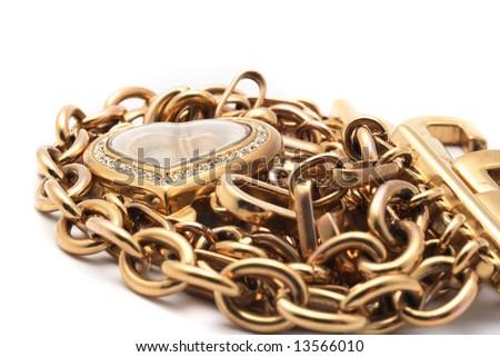 Golden jewelery - stock photo
