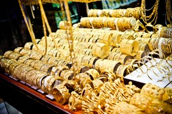 Golden jewellery in Dubai Gold Market, United Arab Emirates