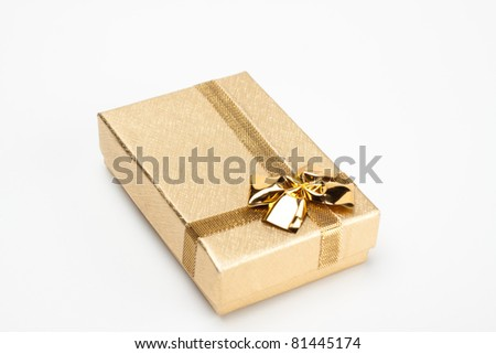 golden jewelry box isolated on white background