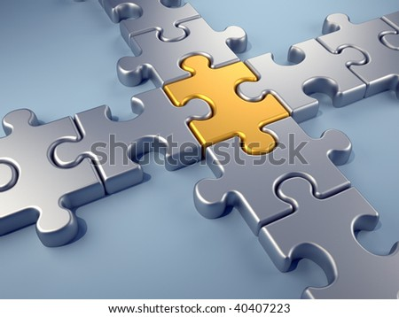 Golden jigsaw piece connecting a puzzle structure - 3d render