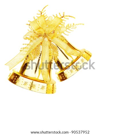 Golden jingle bell, Christmas tree ornament and holiday decoration isolated on white background