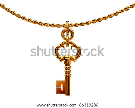 Golden key hanging on a chain isolated over white