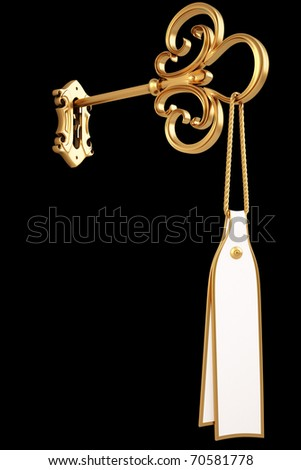 golden key with a tag is inserted into the keyhole. isolated on black. with clipping path.
