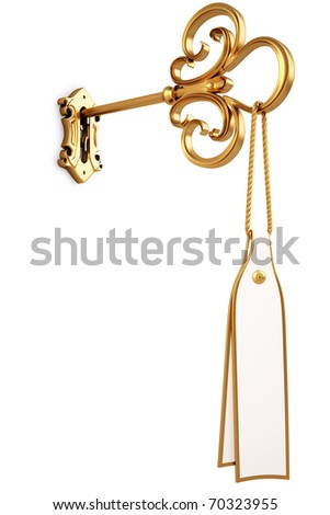 golden key with a tag is inserted into the keyhole. isolated on white. with clipping path.