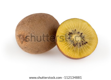Golden kiwi isolated on white background