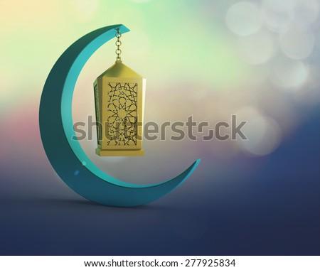 golden lantern hanging on a crescent