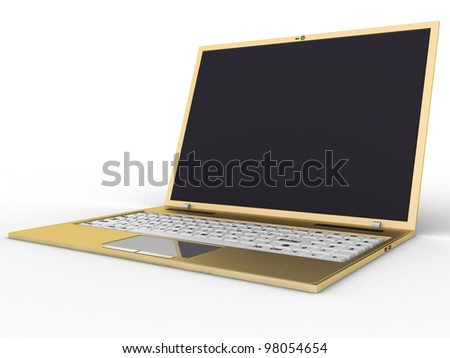Golden laptop on a white background ?1