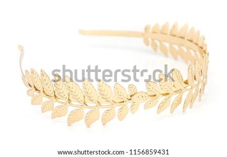 golden laurel wreath headband isolated on white #1156859431