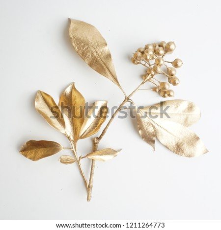 golden leaf and fruit design elements. Decoration elements for invitation, wedding cards, valentines day, greeting cards. Christmas decor Isolated on white background.