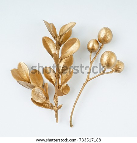 golden leaf and fruit design elements. Decoration elements for invitation, wedding cards, valentines day, greeting cards. Isolated on white background. #733517188