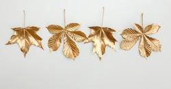 Golden leaf banner design elements on light gray background.