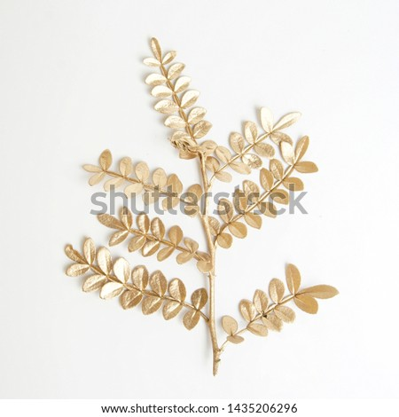 golden leaf design elements. Decoration elements for invitation, wedding cards, valentines day, greeting cards. Isolated on white background.                                #1435206296