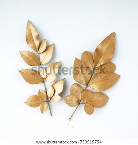 golden leaf design elements. Decoration elements for invitation, wedding cards, valentines day, greeting cards. Isolated on white background. #733515754