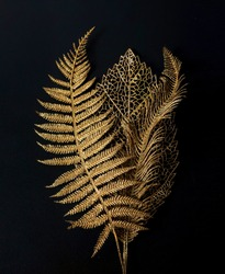 Golden leaf. Golden leaves on black background