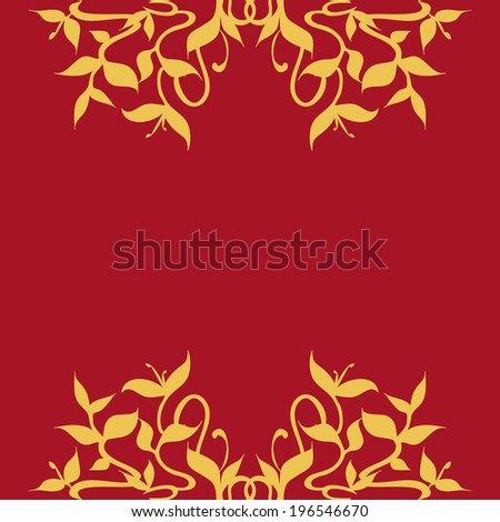 Golden Leaves and Vines Frame Border Decoration - Golden stylized growing plant sprouts; flourishing rounded leaves and stems pattern; floral, elegant, lively and rich decoration for frames borders.