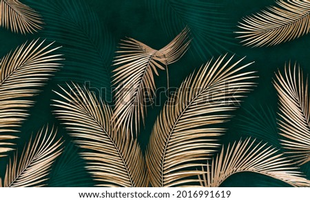Golden leaves on a green background. Tropical leaves. Photo wallpapers. Palm leaves.Tropical leaves.3d photo wallpapers.