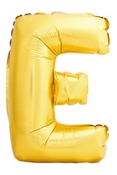 Golden letter E made of inflatable balloon isolated on white background