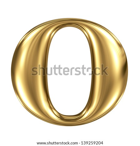Golden letter o lowercase high quality 3d render isolated on white