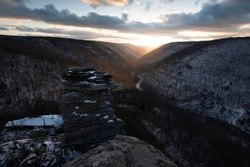 Golden light beings to fill the valley of Blackwater Canyon at Blackwater Falls State Park in West Virginia.