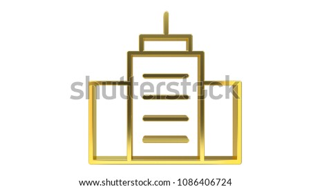 Golden Line Icon Buildings - High resolution 3d render Isolated on white background