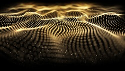 Golden line of motion tech digitals background. Golden wave glowing backdrop. Yellow line graphic art pattern on the black background. The effect movement of the curve designed for power technology