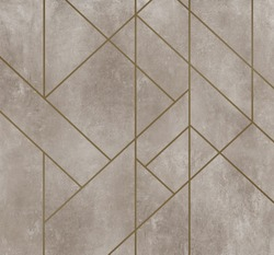 Golden lines on dirty beige plaster texture, Abstract decoration, golden pattern. Picture for wallpaper or background. Black, white, blue, gold waves Cover template, geometric shapes, modern minimal