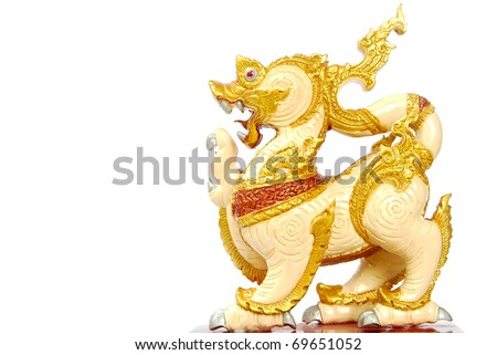 Golden Lion statue - Asian style art -  isolated on white background