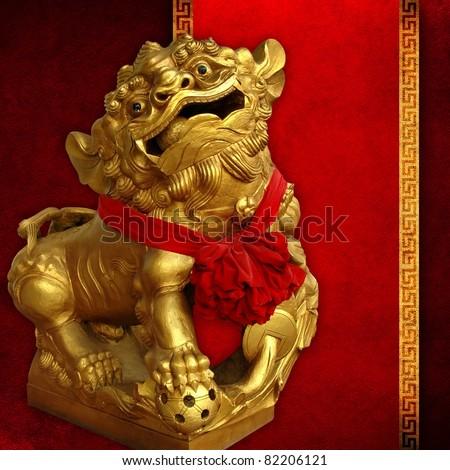 Golden lion statue on vintage background