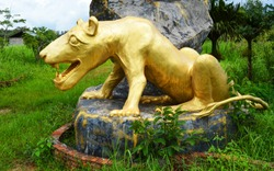 golden lion statue / the large statue of lion golden on the rock in the garden park