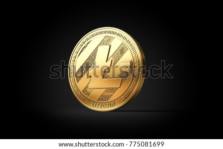 Golden Litecoin LTC cryptocurrency coin isolated on black background. 3D rendering