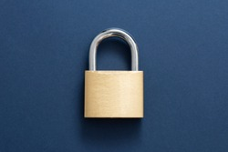 Golden Locked Padlock on the blue background.