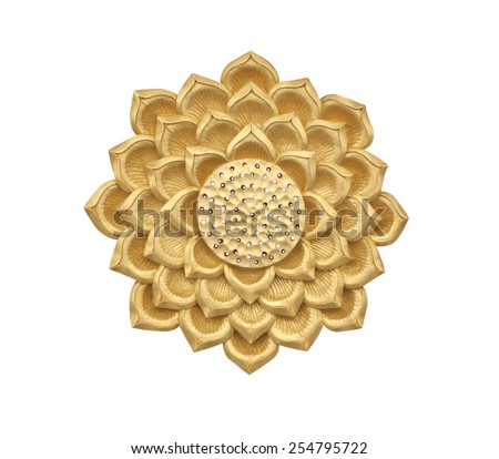Golden lotus wood carving on white background #254795722