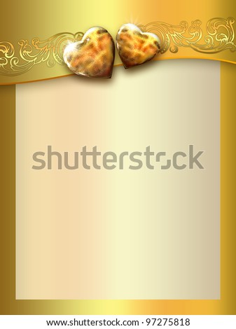 golden love hearts background