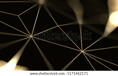 Golden luxury black background with gold rich geometric pattern. Triangular golden light seamless texture