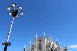 Golden Madonnina of Milan Cathedral in autumn