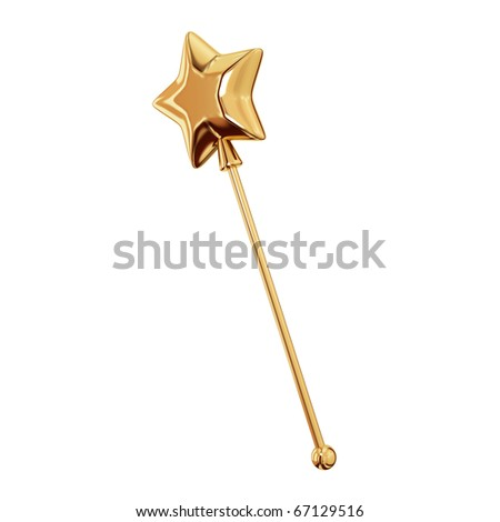 Golden magic wand. Isolated on white background.3d rendered.