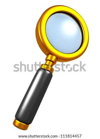 golden magnifying glass on white background