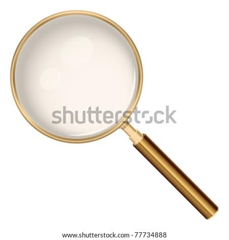 Golden magnifying glass - raster version