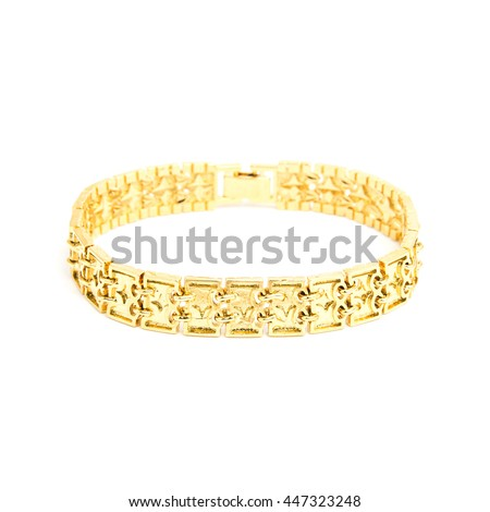 Golden male bracelet isolated on white