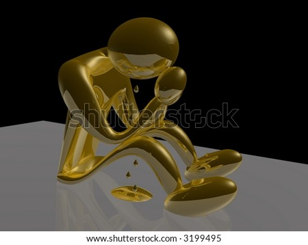 Golden Man Crying - 3D Render - stock photo