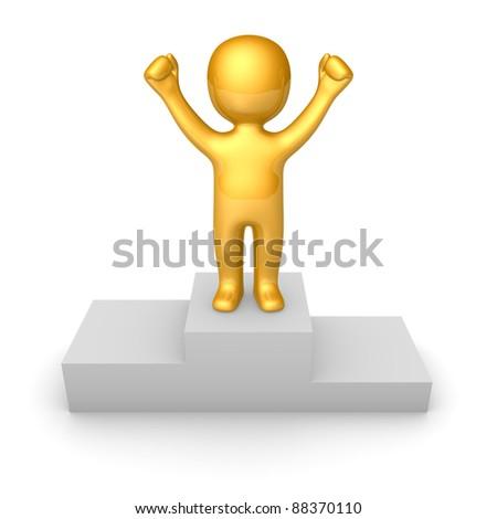 Golden man figure standing on pedestal