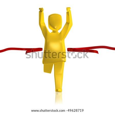 Golden man is the winner, on white background