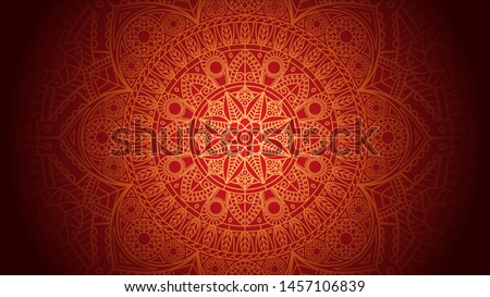 Golden Mandala RED Background - Abstract art, Floral Pattern, Sacred Geometry, Indian henna design
