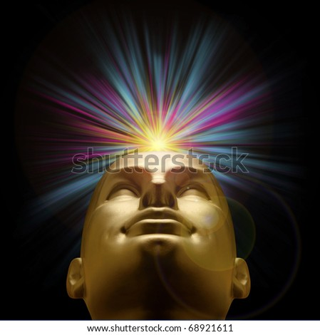 Golden mannequin head looking up with an explosion of purple and blue pastel light above, with lens flare